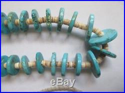 Vintage Navajo Graduated Turquoise Disc and Heishi Necklace