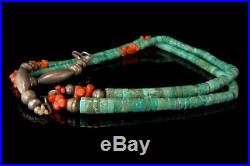 Vintage Navajo Green Turquoise Coral Heishi Sterling Necklace A36810
