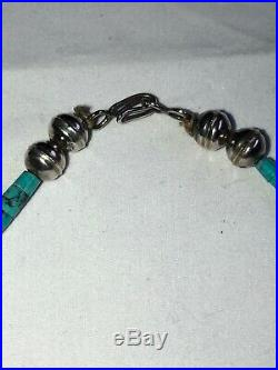 Vintage Navajo Handmade Sterling Silver 19 Turquoise Heishi Beaded Necklace 45g