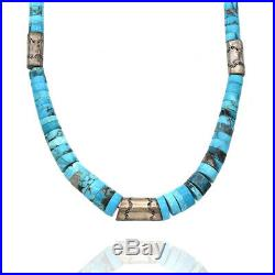 Vintage Navajo Handmade Sterling Silver Turquoise Heishi Beaded Necklace
