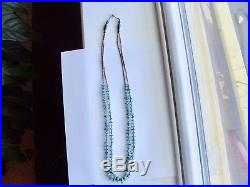Vintage Navajo Heishi And Turquoise 29 Inch Long Double Strand Necklace