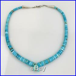 Vintage Navajo Heishi Bright Blue Turquoise & Silver Choker 16 Necklace