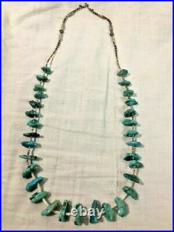 Vintage Navajo Indian Turquoise Nugget, Sterling & Heishi Bead Necklace