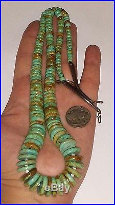 Vintage Navajo Made Graduated Turquoise & Sterling Silver Heishi Necklace26L