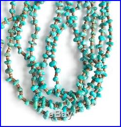 Vintage Navajo Multi Strand Sterling Silver Turquoise Heishi Bead Necklace 28