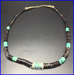 Vintage Navajo Native American Heishi & Turquoise Beaded Necklace 20