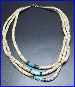 Vintage Navajo Native American Heishi & Turquoise Triple Strand Beaded Necklace