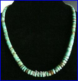 Vintage Navajo Native American Sterling Silver Natural Turquoise Heishi Necklace