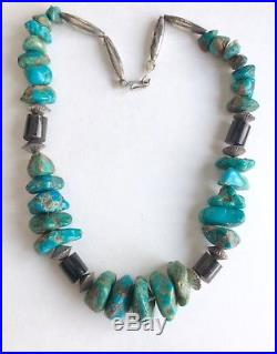 Vintage Navajo Native American Turquoise Heishi Sterling Bench Bead Necklace 20