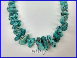 Vintage Navajo Natural Turquoise Nugget Shell Heishi Bead Necklace 28