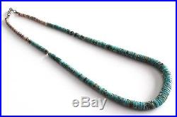 Vintage Navajo Natural Turquoise Stone & Shell Heishi Beads Necklace 39 gr