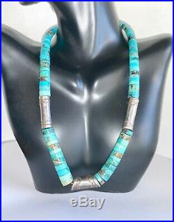 Vintage Navajo Pearl Sterling Silver Turquoise Heishi Bead Beaded Necklace