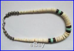 Vintage Navajo Silver Bench Beads Graduated Turquoise & Shell Heishi Necklace