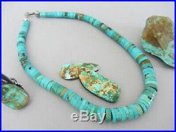 Vintage Navajo Sterling Bead Thick Green Turquoise Heishi Disc 17.25 Necklace