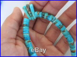 Vintage Navajo Sterling Bench Bead and Turquoise Heishi Jacla 16.5 Necklace