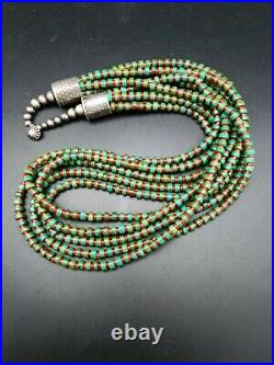 Vintage Navajo Sterling Silver Ajax Turquoise & Coral 5 Strand Heishi Necklace
