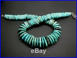Vintage Navajo Sterling Silver Blue Green Turquoise Large Heishi Necklace 21