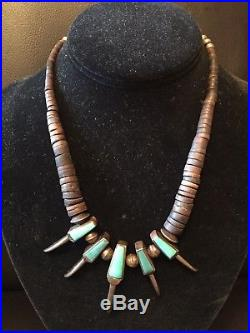 Vintage Navajo Turquoise Bear Claw, Heishi, Bench Beads Sterling Silver Necklace
