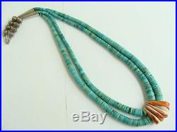 Vintage Navajo Turquoise Heishi Jacla Style Spiny Oyster Necklace Sterling