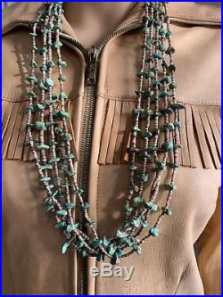 Vintage Navajo Turquoise Heishi Native American Necklace Old