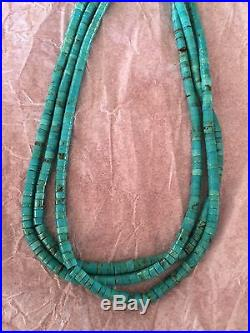 Vintage Navajo Turquoise Heishi Necklace 30.5 Long Sterling Silver Beautiful