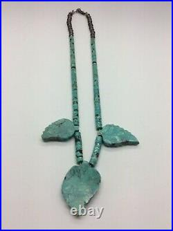 Vintage Navajo Turquoise Heishi Necklace with Three Carved Leaves