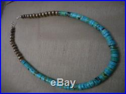 Vintage Navajo Turquoise Heishi and Sterling Bench Bead Necklace