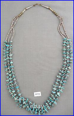 Vintage Navajo Turquoise Nugget & Shell Heishi Three-Strand Necklace