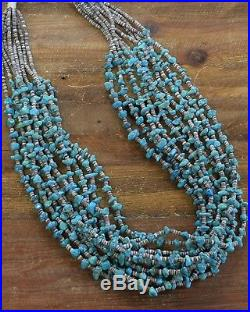Vintage Navajo Turquoise and Heishi Bead 10-Strand Statement Necklace