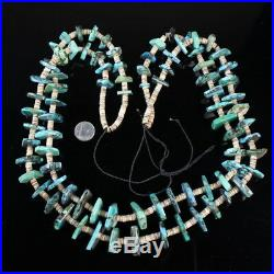 Vintage Navajo tribal Two Strand authentic Turquoise beautiful heishi necklace