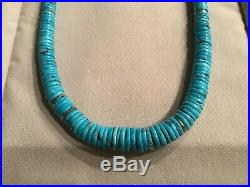 Vintage Necklace Heishi TURQUOISE Bead STERLING SILVER Packards New Mexico