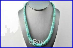 Vintage Necklace Santo Domingo Sterling Hand Rolled Turquoise Heishi Bead NM