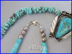 Vintage OLD Baby Blue Turquoise Rolled Heishi Navajo Sterling Bead Necklace