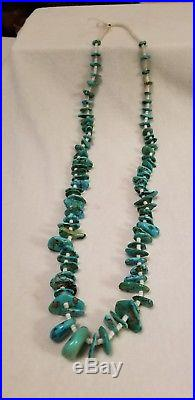 Vintage OLD PAWN Turquoise & Heishi Necklace Curlys Trading Post Tuba City AZ