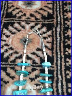 Vintage Old 28 Native American Turquoise Nugget Heishi Necklace Newly Restrung