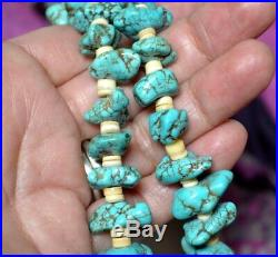 Vintage Old Pawn Genuine Turquoise nugget heishi beads necklace 30L 103gr