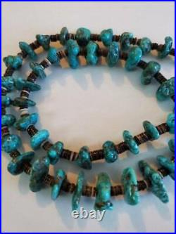Vintage Old Pawn Heishi Turquoise Nugget Bead Necklace