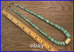 Vintage Old Pawn Turquoise Santo Domingo Heishi Brass Bead Graduated Necklace