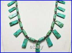Vintage Old Pawn Turquoise Tapered Slab Heishi Sterling Silver Necklace 27.5