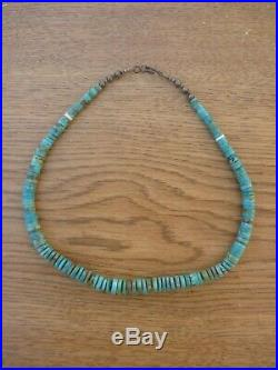 Vintage Old Santo Domingo Sterling Graduated BeadsTurquoise Heishi Necklace