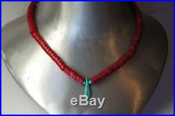 Vintage Peyote Bird Red Coral And Turquoise Heishi Bead Necklace Sterling Silver
