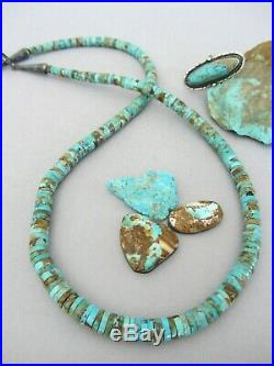Vintage Pinto Boulder Royston Turquoise Heishi 23.75 LONG Navajo Bead Necklace