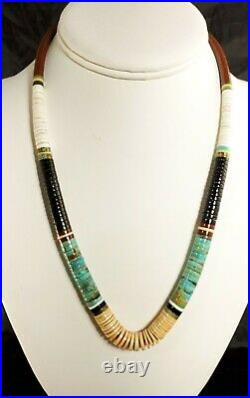 Vintage Railroad Trade Turquoise Pipestone Mother Of Pearl Heishi Shell Necklace