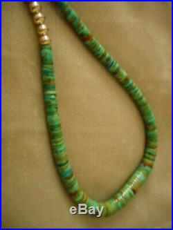 Vintage Real Turquoise, Heishi & Navajo Sterling Bench Bead Graduated Necklace