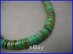 Vintage Royston Graduated Turq. Heishi & Navajo Sterling Bench Bead Necklace