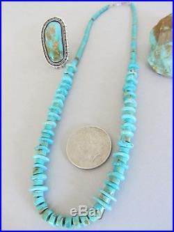 Vintage Royston Turquoise Graduated Heishi Disc Native American 23.75 Necklace