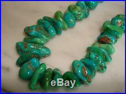 Vintage Royston Turquoise Nugget Shell Heishi Navajo Necklace 30 IN. 144 Grams