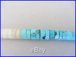 Vintage SHOCKING Blue Turquoise Heishi Navajo Sterling Bead 17.25 Necklace