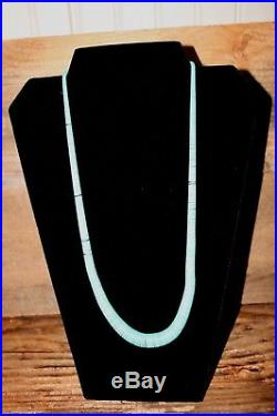 Vintage STERLING SILVER TURQUOISE HEISHI Graduated BEAD NECKLACE 46g 24 long