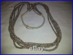 Vintage Santo Doming heishi and turquoise 5 strand necklace